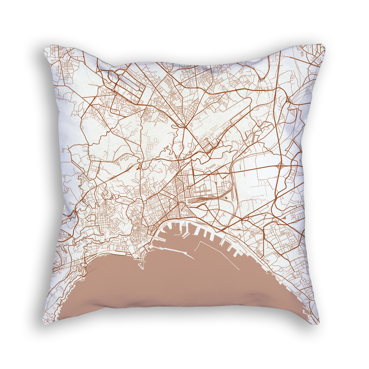 Naples Italy City Map Art Decorative Throw Pillow