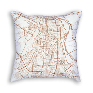 New Delhi India City Map Art Decorative Throw Pillow