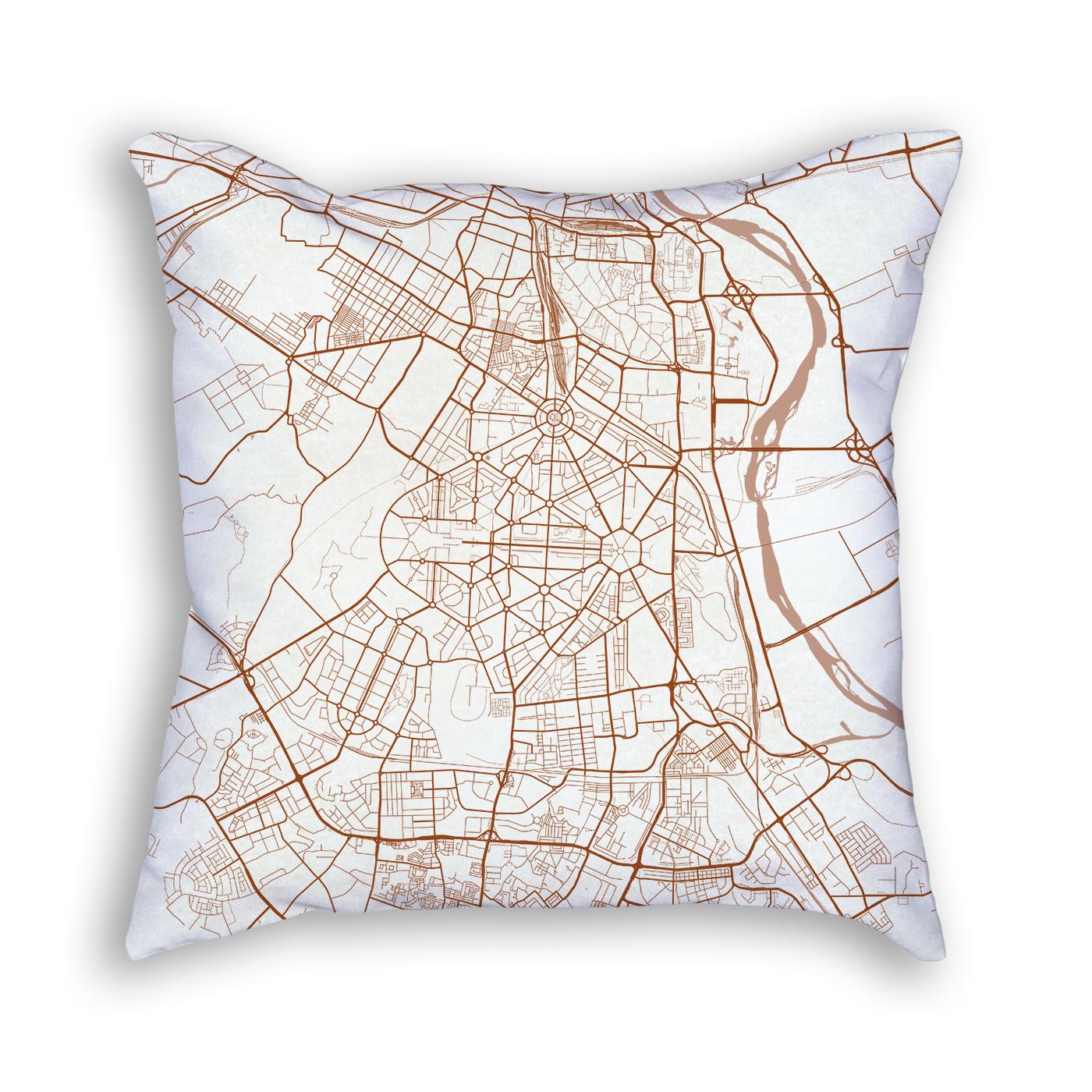 New Delhi India City Map Art Decorative Throw Pillow