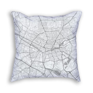 Nuremberg Germany City Map Art Decorative Throw Pillow