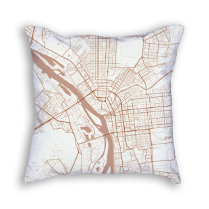 Omsk Russia City Map Art Decorative Throw Pillow