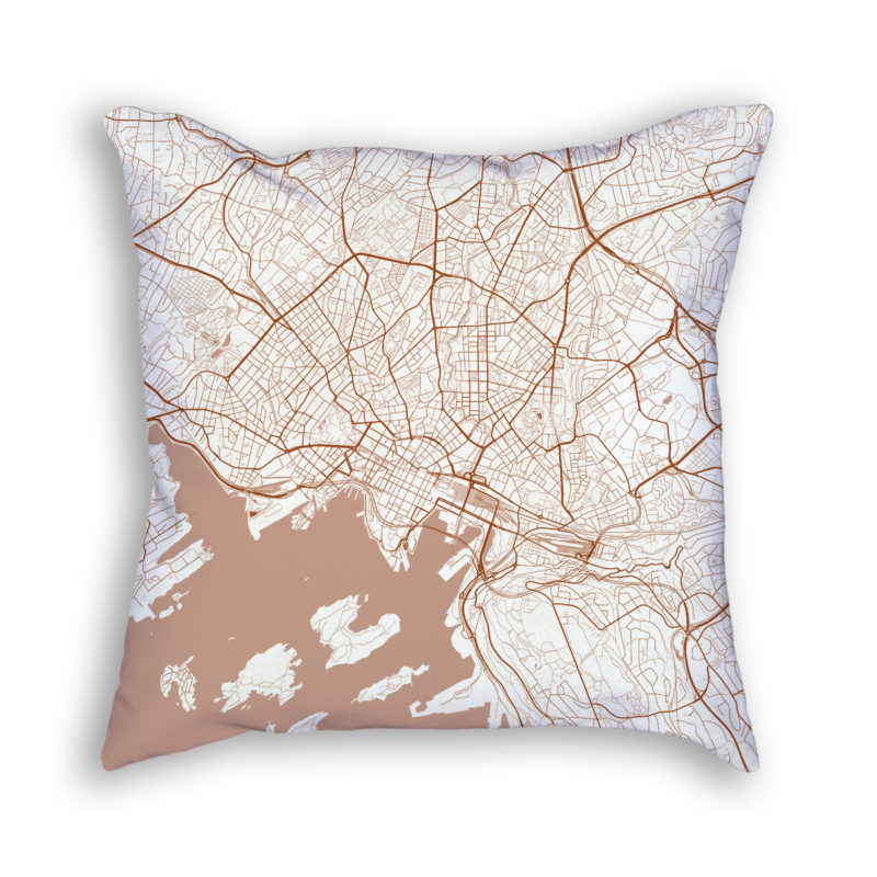 Oslo Norway City Map Art Decorative Throw Pillow
