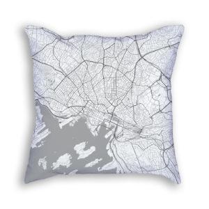 Oslo Norway City Map Art Decorative Throw Pillow