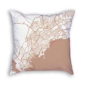 Panama City Panama City Map Art Decorative Throw Pillow