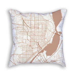 Peoria Illinois City Map Art Decorative Throw Pillow