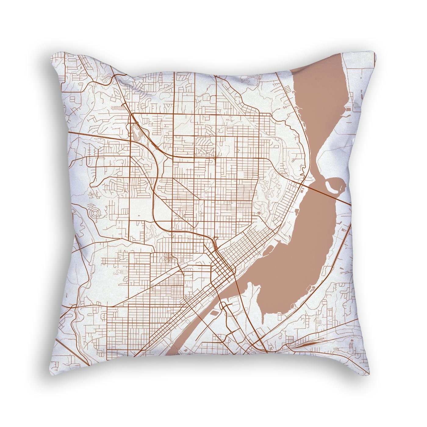 Peoria Illinois City Map Art Decorative Throw Pillow