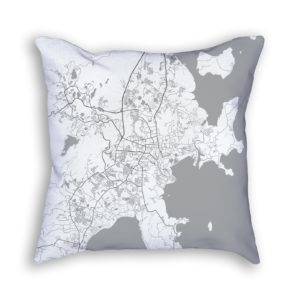 Phuket Thailand City Map Art Decorative Throw Pillow