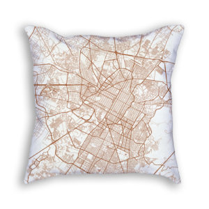 Puebla Mexico City Map Art Decorative Throw Pillow