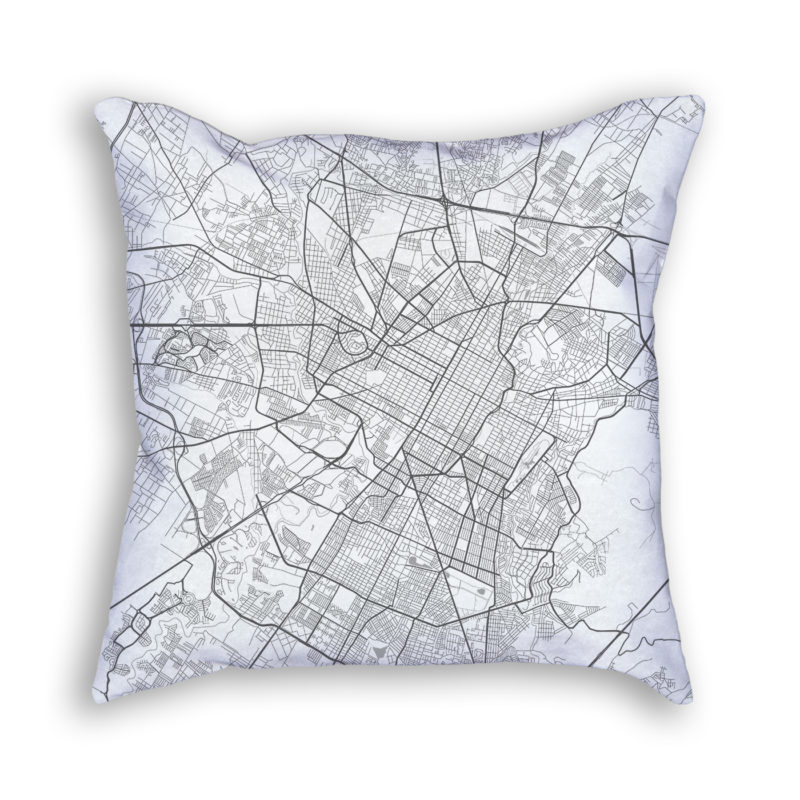 Puebla Mexico City Map Art Decorative Throw Pillow