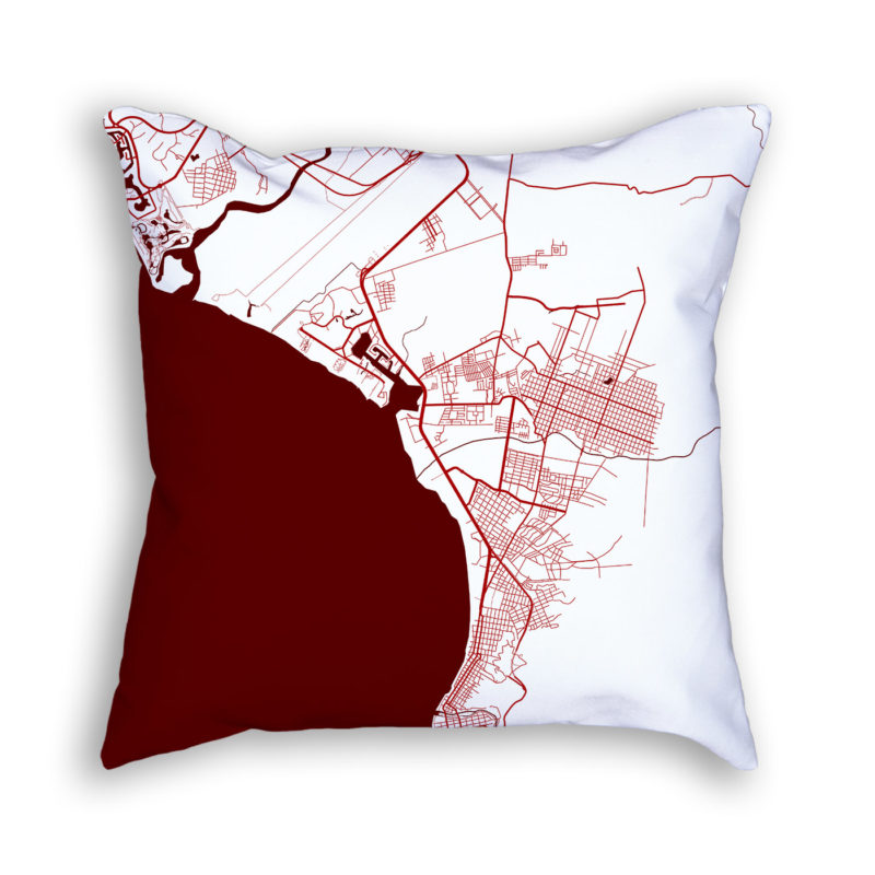Puerto Vallarta Mexico City Map Art Decorative Throw Pillow