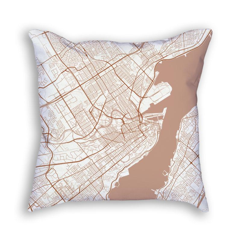 Quebec City Canada City Map Art Decorative Throw Pillow