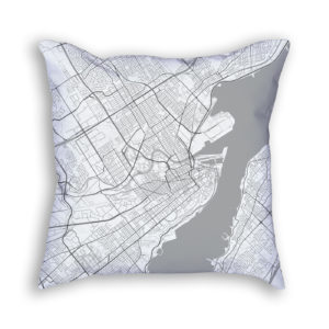 Quebec City Canada City Map Art Decorative Throw Pillow