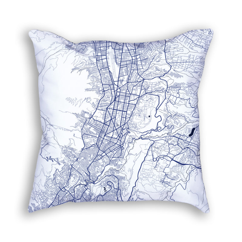 Quito Ecuador City Map Art Decorative Throw Pillow