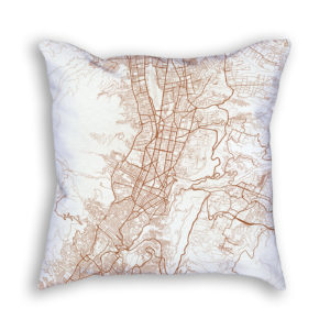 Quito Ecuador City Map Art Decorative Throw Pillow