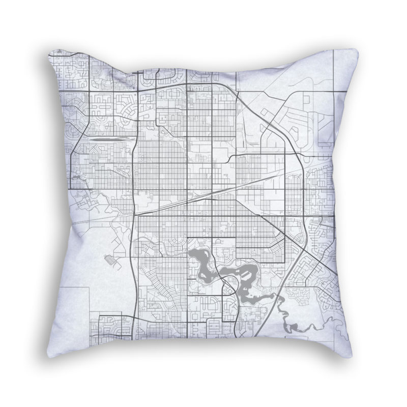 Regina Canada City Map Art Decorative Throw Pillow