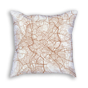 Rome Italy City Map Art Decorative Throw Pillow
