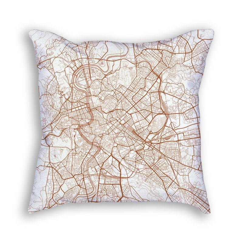 Rome Italy City Map Art Decorative Throw Pillow