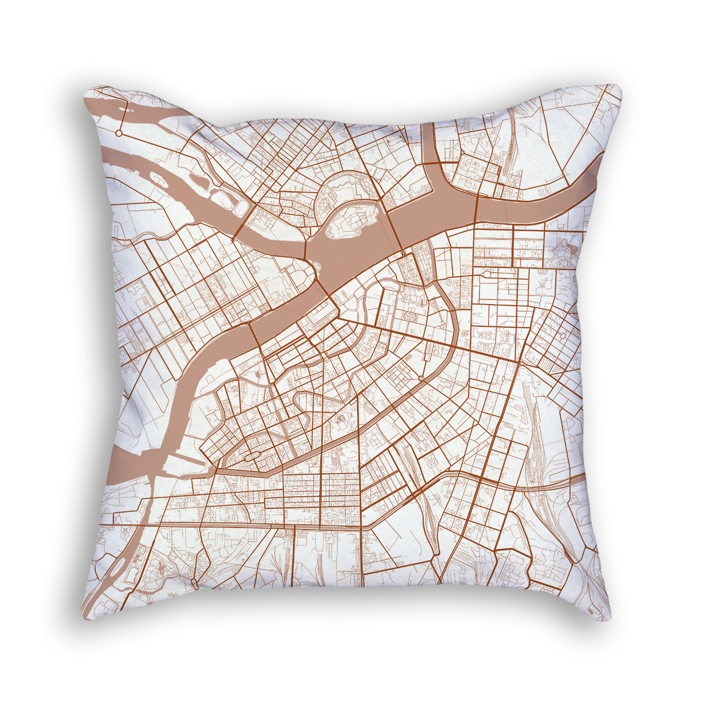Saint Petersburg Russia City Map Art Decorative Throw Pillow