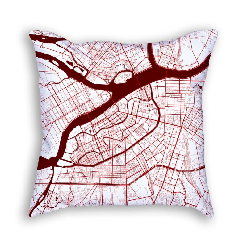 Saint Petersburg Russia City Map Art Decorative Throw Pillow