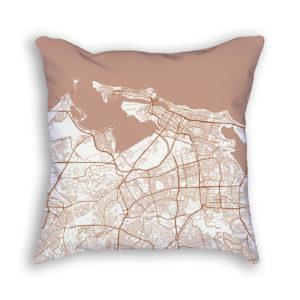 San Juan Puerto Rico City Map Art Decorative Throw Pillow