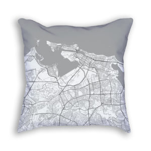 San Juan Puerto Rico City Map Art Decorative Throw Pillow