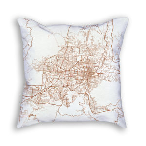 San Salvador El Salvador City Map Art Decorative Throw Pillow