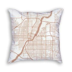 Saskatoon Canada City Map Art Decorative Throw Pillow