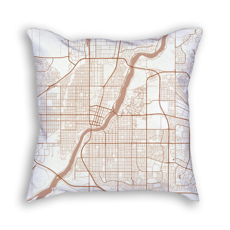 Saskatoon Canada City Map Art Decorative Throw Pillow