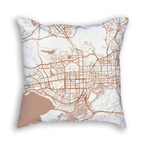 Shenzhen China City Map Art Decorative Throw Pillow