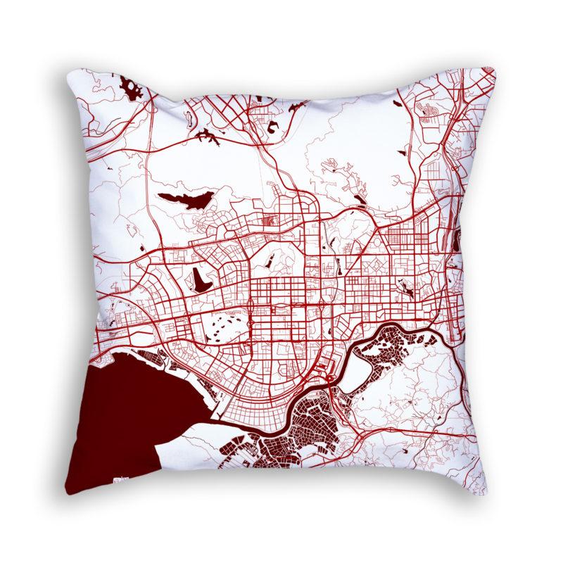 Shenzhen China City Map Art Decorative Throw Pillow