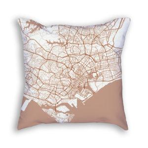 Singapore City Map Art Decorative Throw Pillow