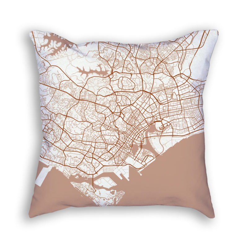 Singapore City Map Art Decorative Throw Pillow