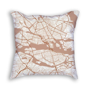 Stockholm Sweden City Map Art Decorative Throw Pillow