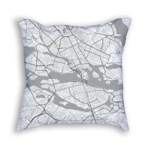 Stockholm Sweden City Map Art Decorative Throw Pillow