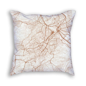Stuttgart Germany City Map Art Decorative Throw Pillow
