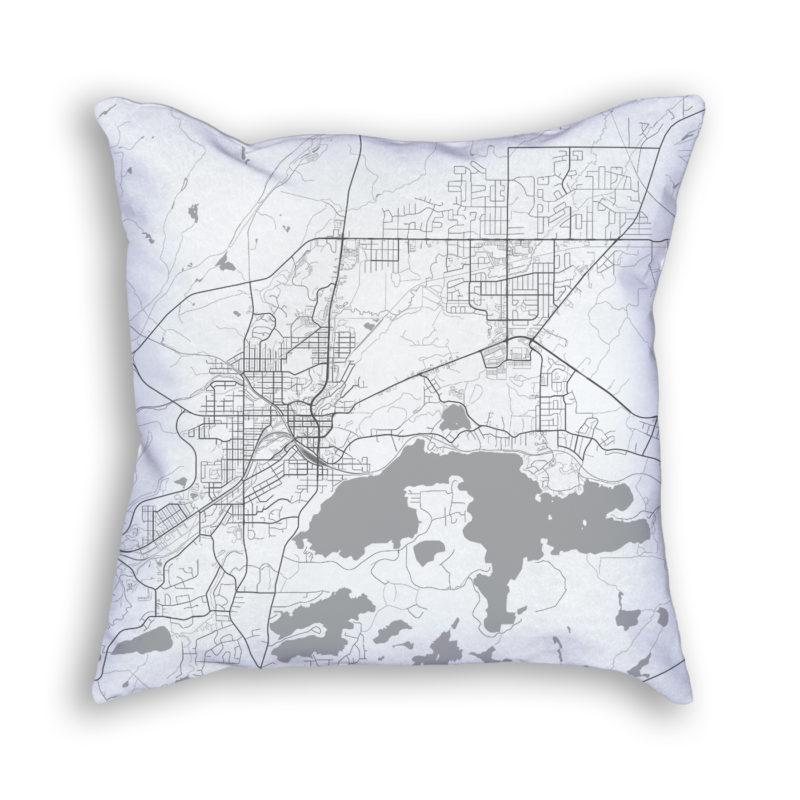 Sudbury Canada City Map Art Decorative Throw Pillow