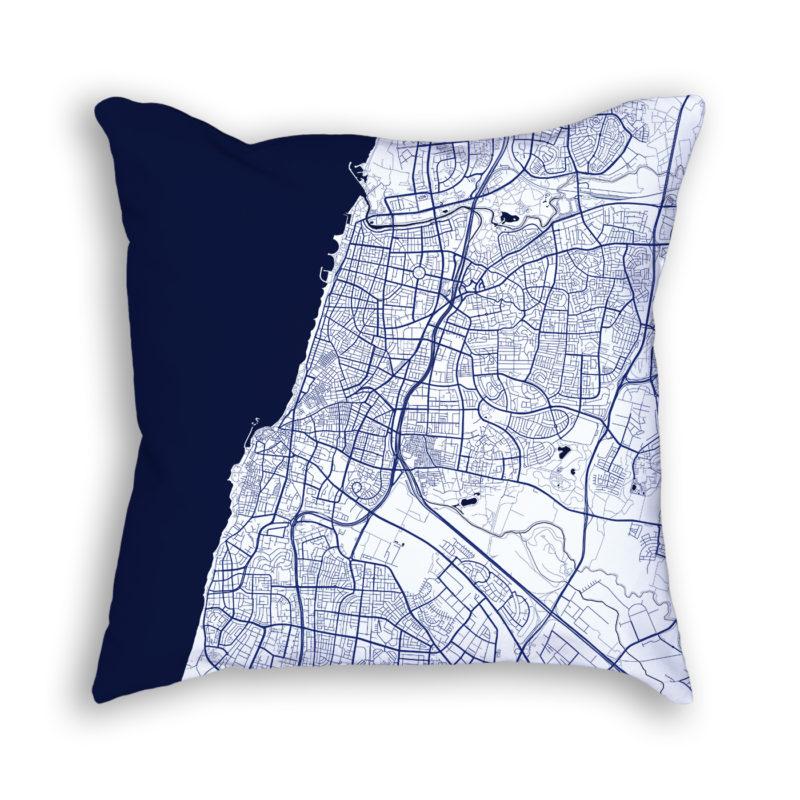 Tel Aviv-Yafo Israel City Map Art Decorative Throw Pillow