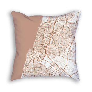 Tel Aviv-Yafo Israel City Map Art Decorative Throw Pillow