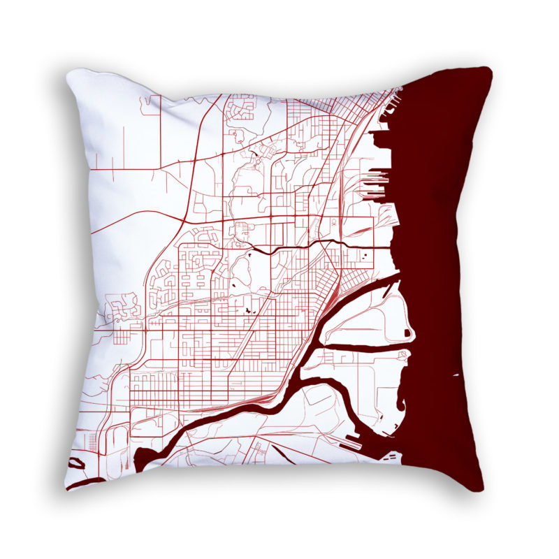 Thunder Bay Canada City Map Art Decorative Throw Pillow