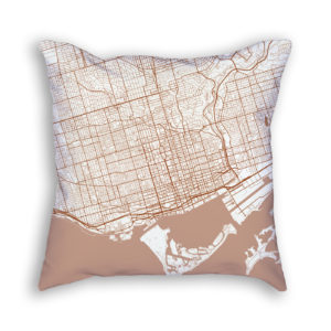 Toronto Canada City Map Art Decorative Throw Pillow