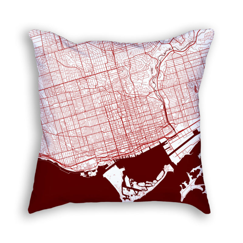 Toronto Canada City Map Art Decorative Throw Pillow