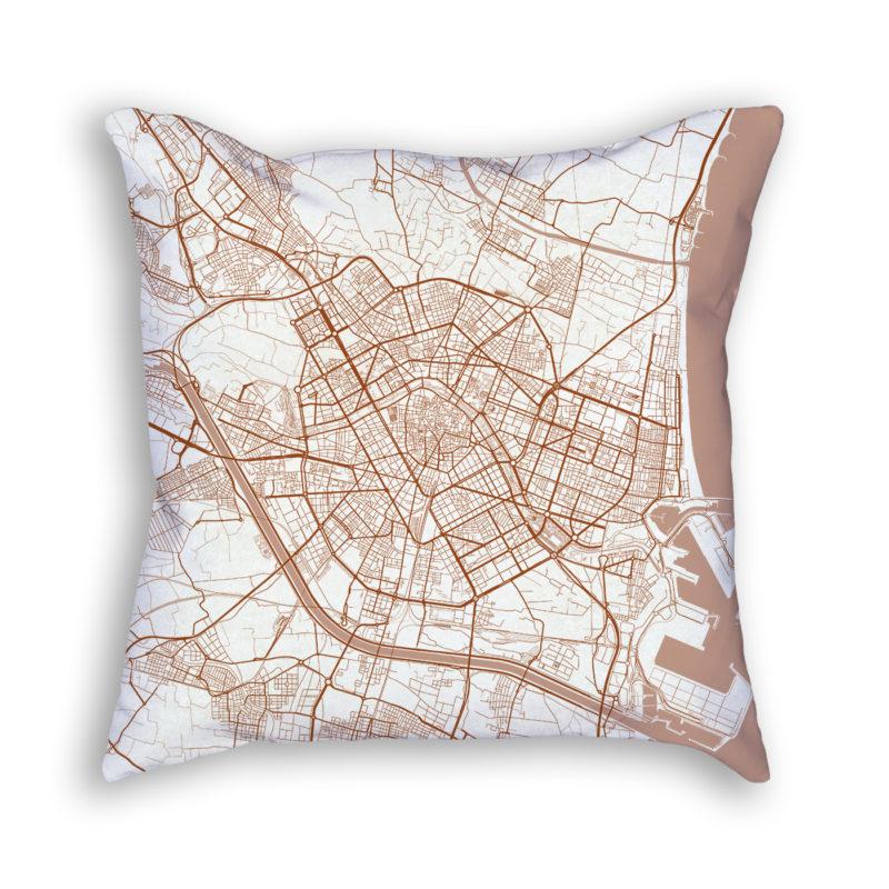 Valencia Spain City Map Art Decorative Throw Pillow