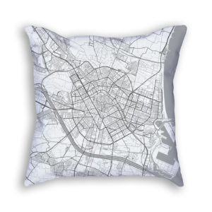 Valencia Spain City Map Art Decorative Throw Pillow