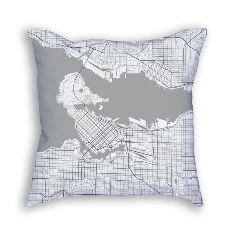 Vancouver Canada City Map Art Decorative Throw Pillow