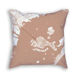 Venice Italy City Map Art Decorative Throw Pillow