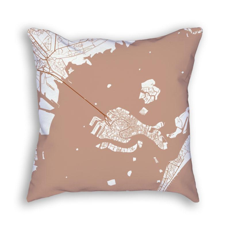 Venice Italy City Map Art Decorative Throw Pillow