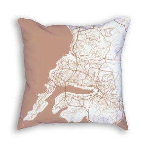 Vladivostok Russia City Map Art Decorative Throw Pillow