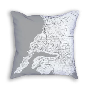 Vladivostok Russia City Map Art Decorative Throw Pillow