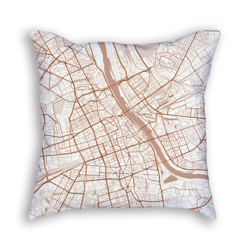 Warsaw Poland City Map Art Decorative Throw Pillow