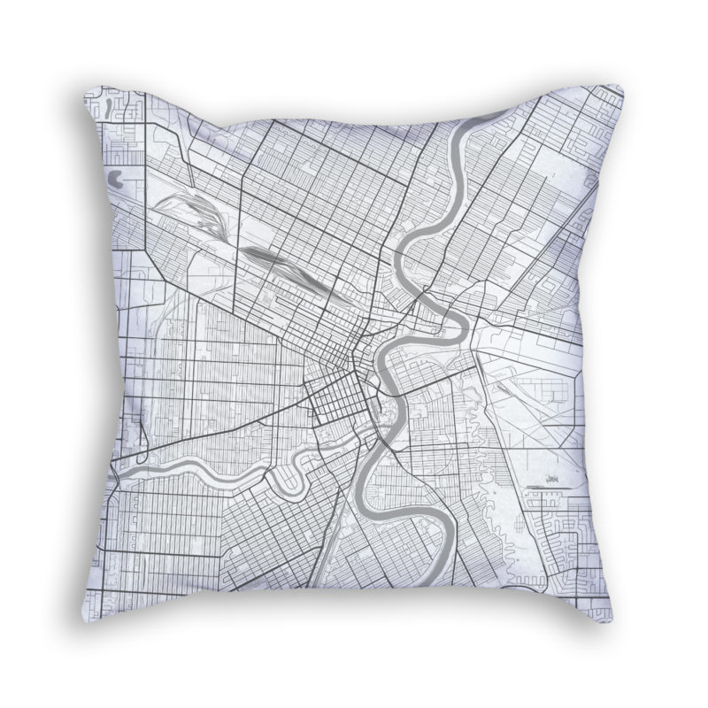 Winnipeg Canada City Map Art Decorative Throw Pillow